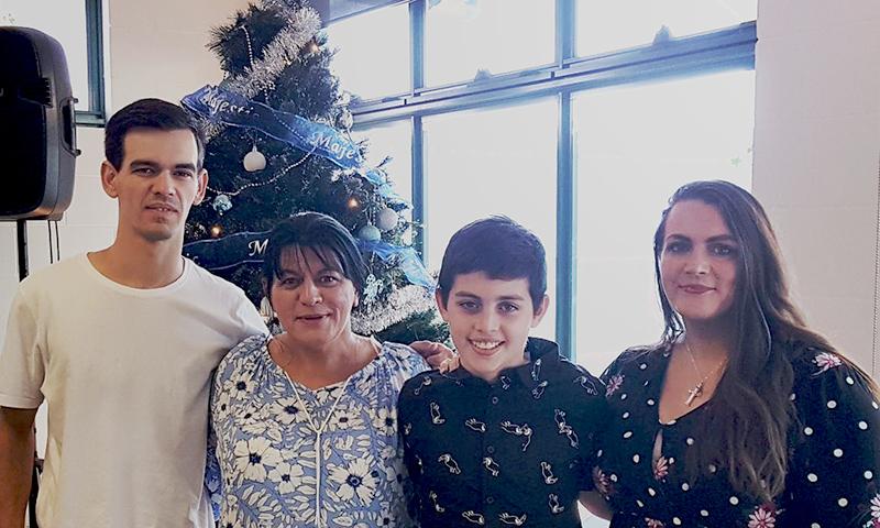 Barbara and family at Christmas